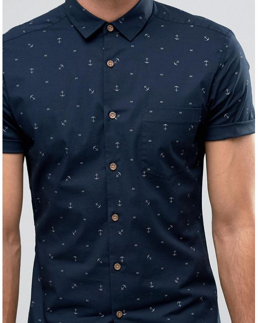 Asos Short Sleeve Anchor Print Shirt In Skinny Fit In Blue