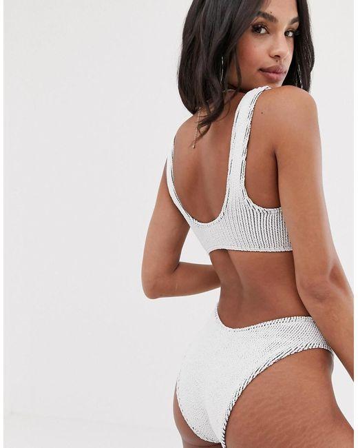 2eaf192b7d352 ... ASOS - Mix And Match Crinkle High Leg Hipster Bikini Bottom In White  Black - Lyst