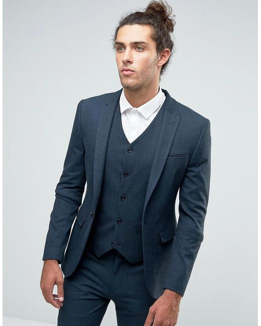 Asos Super Skinny Suit Jacket With Peak Lapel In Blue in Green for ...