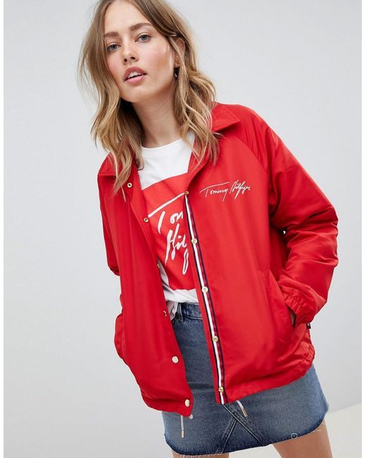 Tommy Hilfiger - Red Coach Jacket With Scribble Logo - Lyst