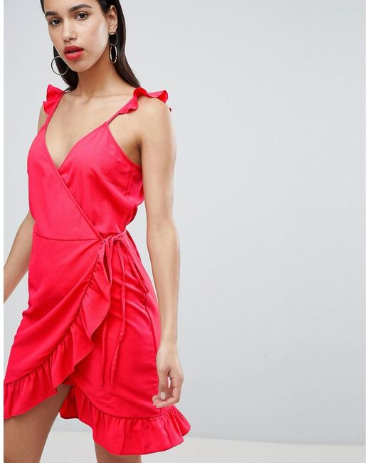 Vila - Red Wrap Cami Dress With Ruffle Detail - Lyst