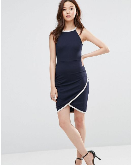 wal g dress with wrap skirt in blue lyst