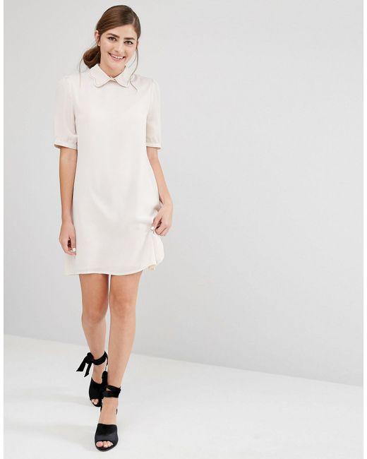 Fashion Union Shift Dress With Scallop Hem Collar In Multicolor Mink Lyst