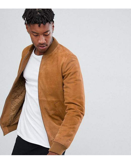 2019 best sell big sale reasonably priced Men's Brown Tall Suede Bomber Jacket In Tan