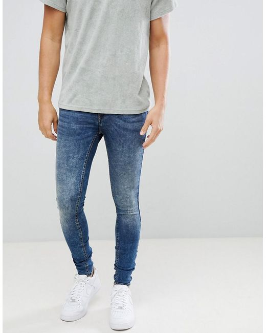 12b8b53b Blend - Blue Flurry Distressed Muscle Fit Jeans In Authentic Wash for Men -  Lyst ...