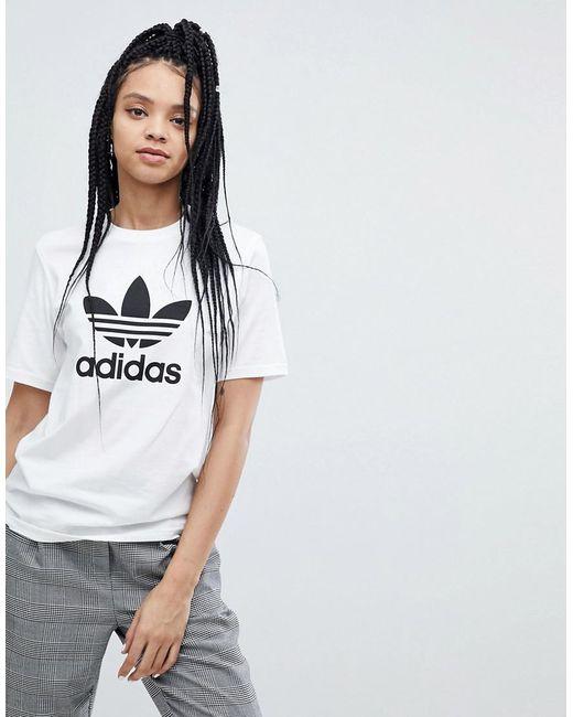 dc60f7db Adidas Originals - Originals Trefoil Oversized T-shirt In White - Lyst ...