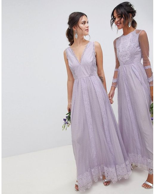0e72719831aa ASOS - Purple Dobby Mesh And Lace Mix Sleeveless Maxi Dress - Lyst ...