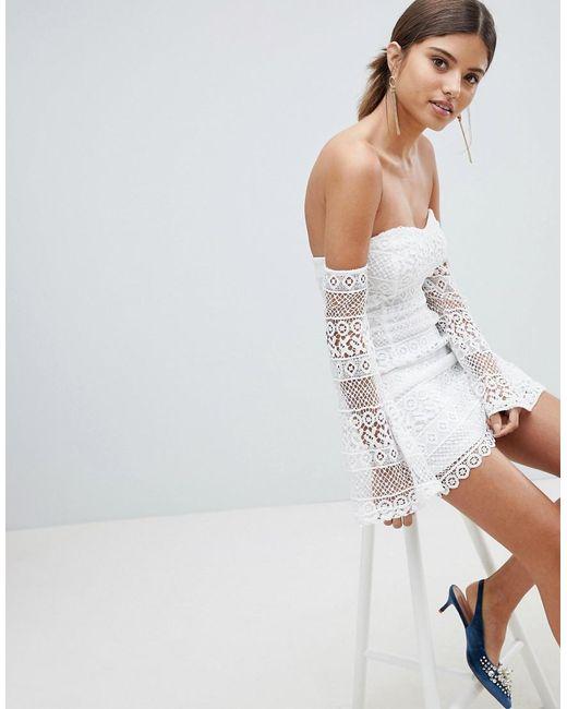 White Broderie Anglaise Bardot Bodycon Dress Pretty Little Thing JLmeGB