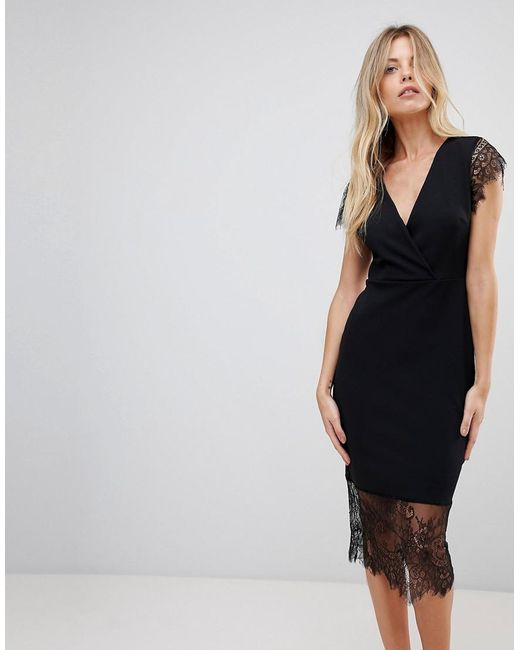 ASOS - Black Asos Pencil Dress With V Neck And Lace Sleeves And Hem - Lyst