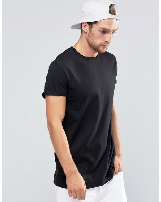 ASOS | Longline T-shirt With Roll Sleeve In Black for Men | Lyst