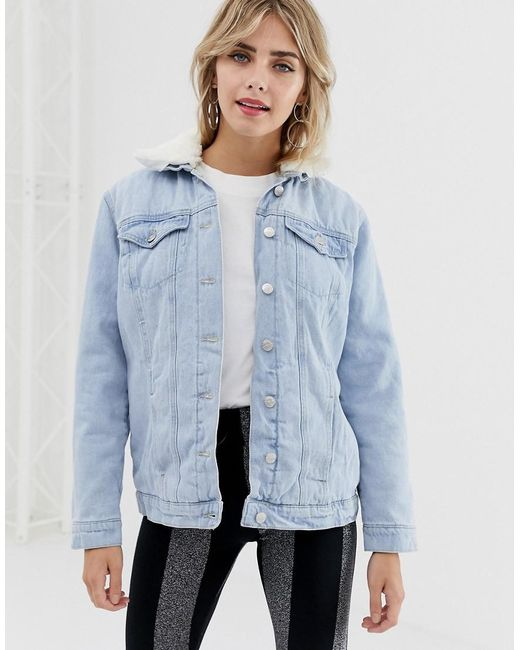 94bf0fcde2e New Look - Blue Borg Lined Denim Jacket - Lyst ...
