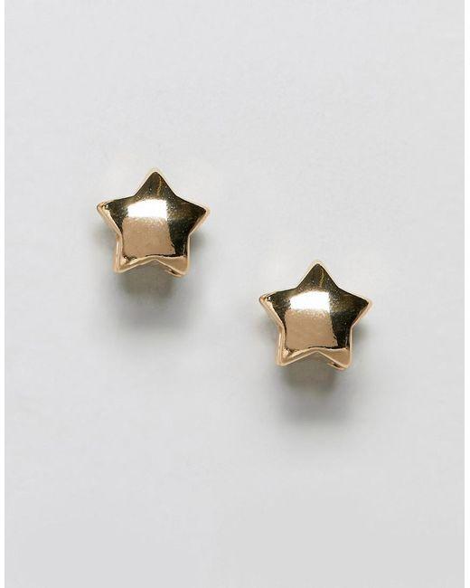 ASOS - Metallic Stud Earrings Double Star In Gold - Lyst