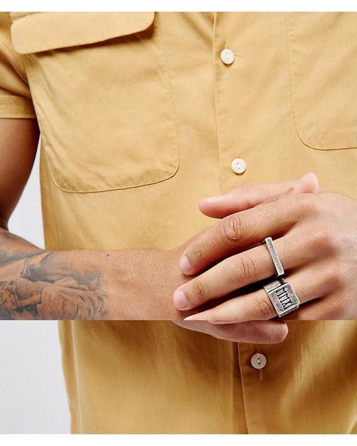ASOS | Metallic Signet Ring Pack In Burnished Silver for Men | Lyst