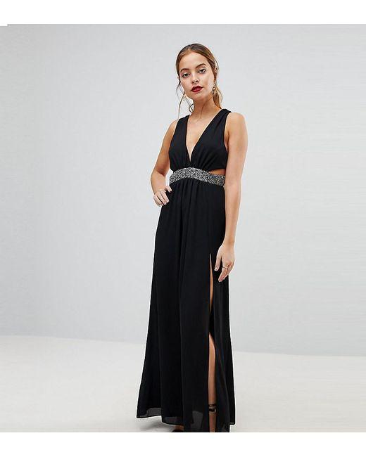 ASOS - Black Embellished Waist Strap Back Maxi Dress - Lyst ... fb2a9777b