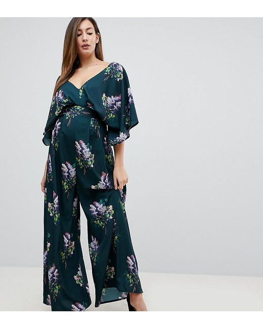873eef7a03 ASOS - Multicolor Jumpsuit With Kimono Sleeve And Wide Leg In Print - Lyst  ...