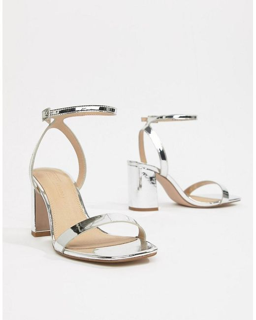 616b3e088 ... ASOS - Metallic Wide Fit Hong Kong Barely There Block Heeled Sandals In  Silver - Lyst