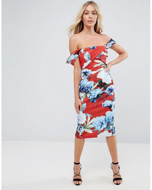 ASOS - Multicolor Floral Fold Detail Bardot Scuba Pencil Dress - Lyst
