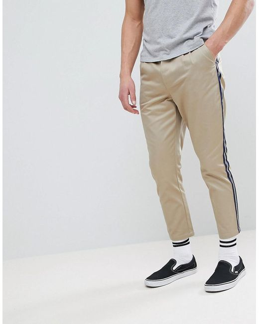 ASOS - Multicolor Tapered Cropped Heavyweight Trousers With Side Stripe In Stone for Men - Lyst