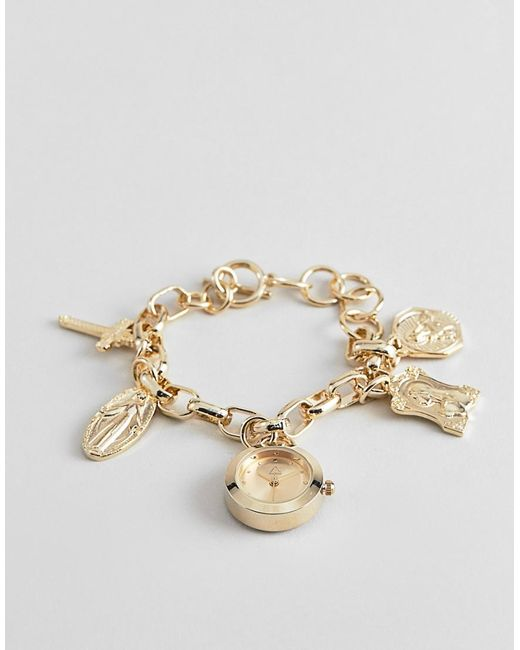 ASOS - Metallic Watch With Vintage Style Religious Icon Charms And Clock Pendant In Gold - Lyst