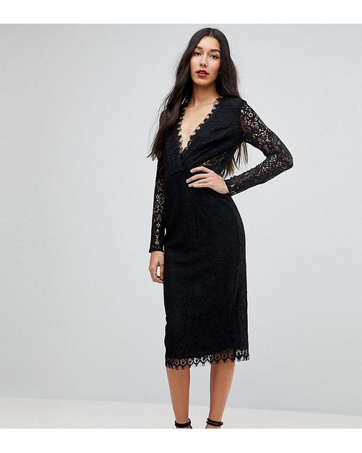 c9951873e87c5 ASOS - Black Long Sleeve Lace Midi Pencil Dress - Lyst ...
