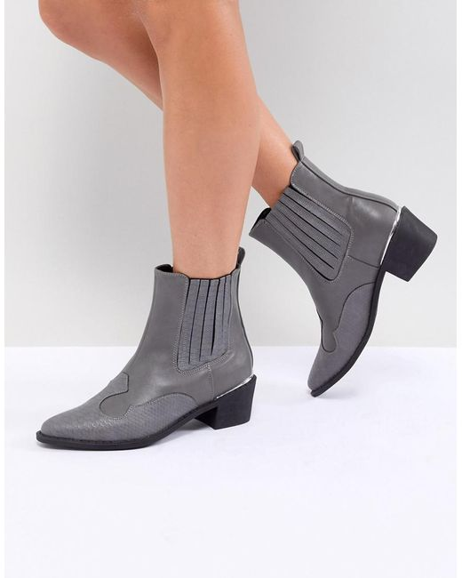 Missguided - Gray Heeled Western Boot - Lyst
