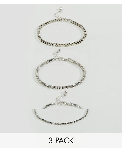 ASOS | Metallic Pack Of 3 Twisted And Box Chain Bracelet | Lyst