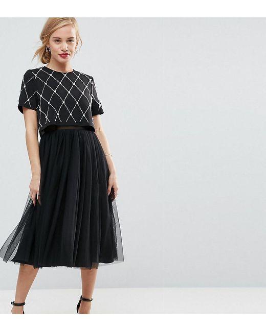 ASOS - Black Embellished Crop Top Midi Tulle Prom - Lyst