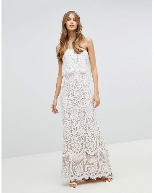 Lyst - Jarlo All Over Lace Bandeau Maxi Dress in White
