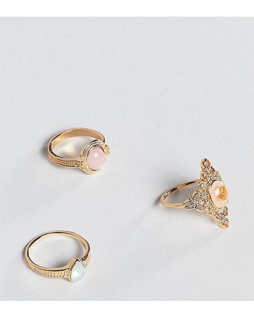 ASOS - Metallic Asos Design Curve Pack Of 3 Rings In Cut Out And Engraved Design With Stones In Gold - Lyst