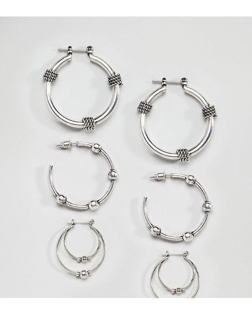 DESIGN Sterling Silver Rope And Wire Wrapped Hoop Earrings - Silver Asos MEhhc