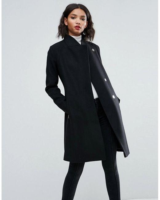 ASOS | Black Smart Slim Coat With Funnel Neck | Lyst