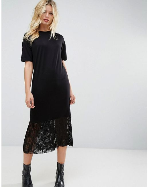 Lyst asos midi t shirt dress with pleated lace hem in black for Black pleated dress shirt