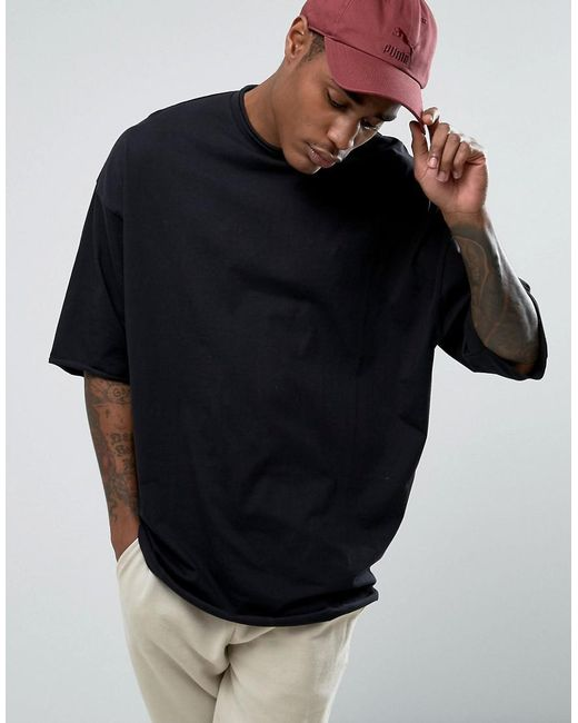 ASOS | Black Super Oversized Heavyweight T-shirt With Raw Edge for Men | Lyst