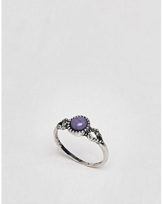 ASOS - Metallic Design Faux Lapis Stone Ring - Lyst