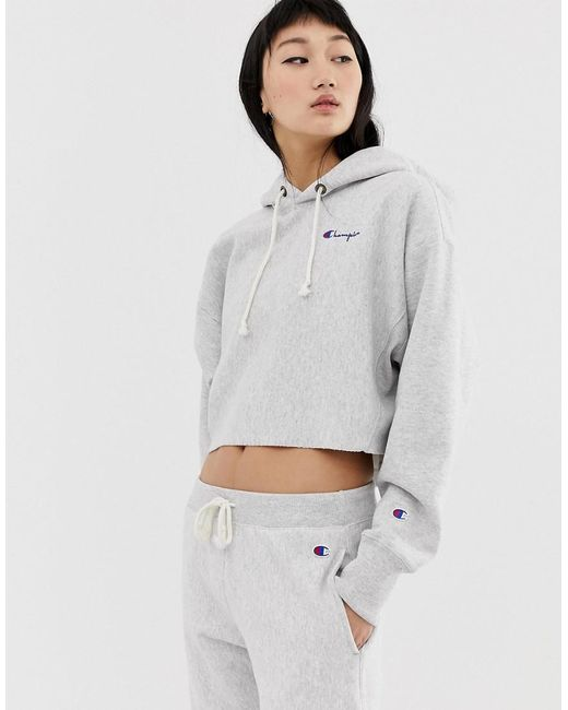 02f9df277a3 Champion Crop Hoodie With Small Script Logo Co-ord in Gray - Save 13 ...