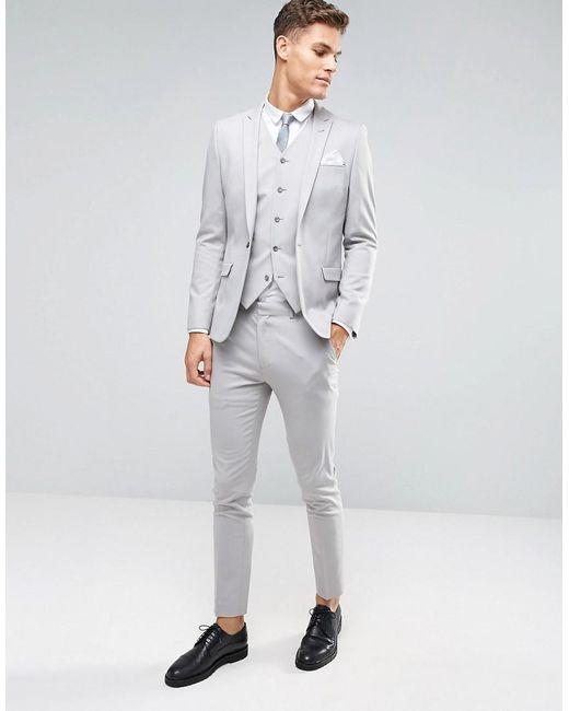 Asos Skinny Suit Jacket In Ice Grey in Gray for Men | Lyst