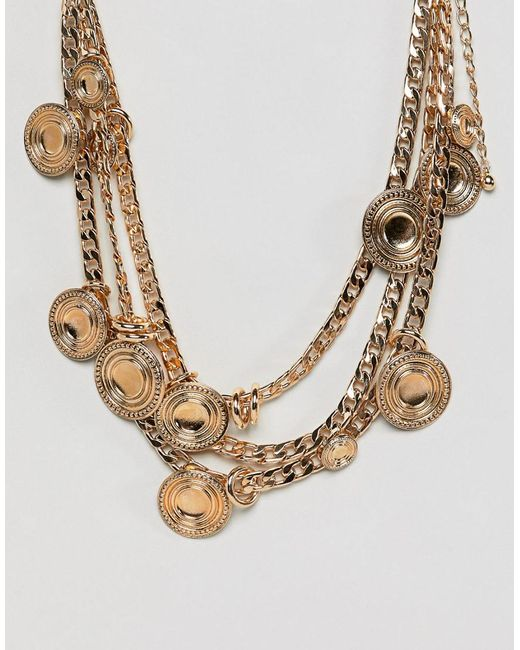 ASOS - Metallic Design Statement Coin And Chunky Chain Multirow Necklace - Lyst