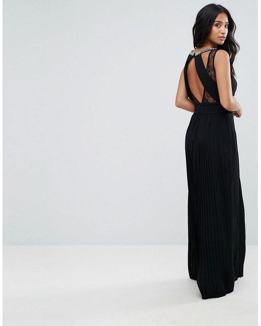Tfnc maxi dress with fishtail and lace inserts