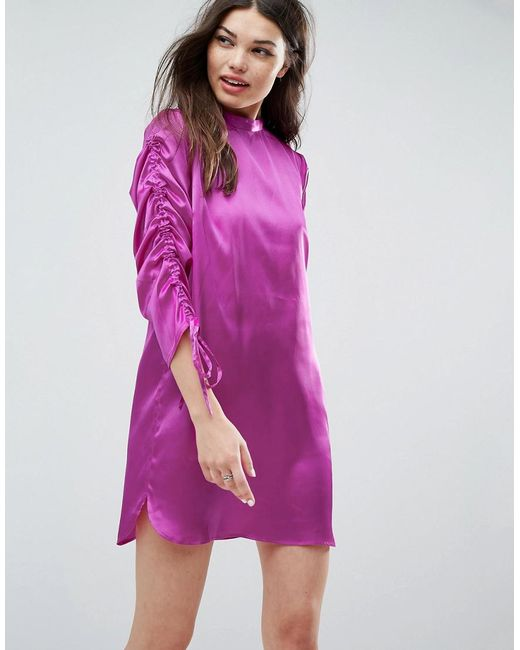 ASOS | Purple Mini Shift Dress With Tie Detail Sleeves | Lyst