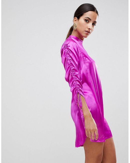 ASOS - Purple Asos Mini Shift Dress With Tie Detail Sleeves - Lyst