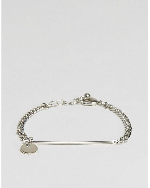 ASOS | Metallic Fine Bar And Disc Bracelet | Lyst