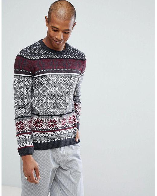 Lyst - Asos Lambswool Fairisle Sweater In Charcoal in Gray for Men ...