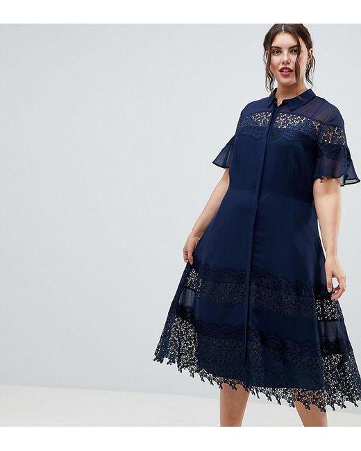 b78d15b3250 ASOS - Blue Asos Design Curve Skater Lace Trim Shirt Dress - Lyst ...