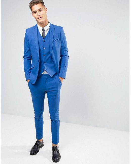 Asos Wedding Skinny Suit Trousers In Dusky Blue in Blue for Men | Lyst
