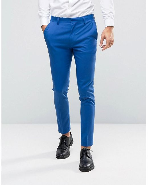 Asos Wedding Skinny Suit Trousers In Dusky Blue in Blue for Men | Lyst