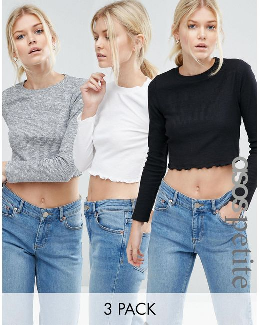 ASOS | Multicolor Crop Crew Neck Long Sleeve T-shirt 3 Pack Save 15% | Lyst