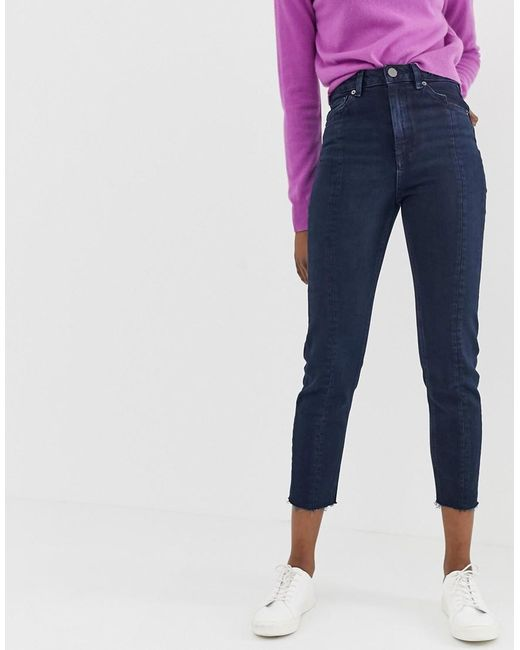 d7bc76cc ASOS - Recycled Farleigh High Waisted Slim Mom Jeans In Dark Wash Blue With  Front Seam ...