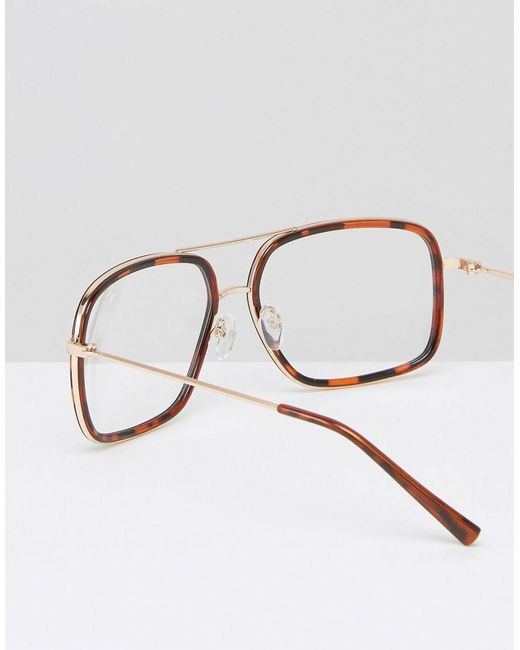 Asos Navigator Glasses In Tort With Clear Lens in Brown ...