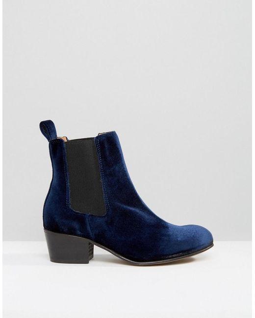 selected femme london navy velvet chelsea boots in blue lyst. Black Bedroom Furniture Sets. Home Design Ideas