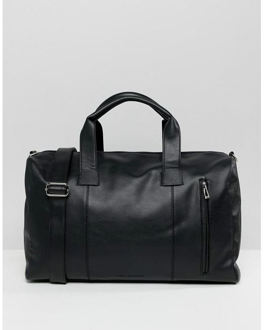 French Connection - Black Faux Leather Smart Carryall for Men - Lyst ... 15e0f31513598